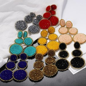 New trendy fashion luxury designer exaggerated bohemia colorful hand beaded multi circles dangle stud earrings for woman