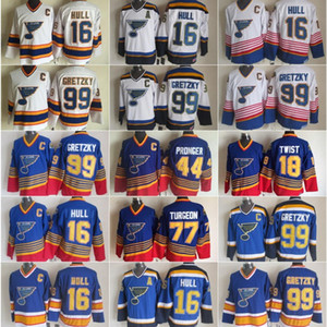 Урожай Сент-Луис Блюз Mens хоккея 16 Brett Hull 44 Крис Пронгер 18 Тони Твист 77 Тарджон 99 Уэйн Гретцки Голубой Белый