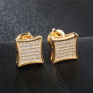 Nouvelle Arrivée Mens Boucles d'oreilles Zirconia Diamant Mode Hommes Bijoux Hip Hop Copper Gold Rempli CZ Goudins Boucles d'oreilles Bijoux