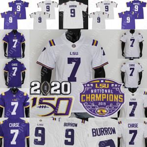2019 Champions Patch 2020 LSU Tigres Burreaux College Football Jersey Joe Burrow 7 Ja'marr Chase 7 Grant Delpit Tyrann Mathieu Fournette