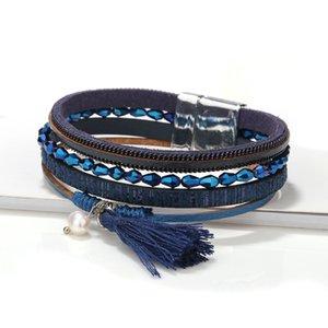 2020 pearl tassel ladies beaded leather bracelet zinc alloy magnetic buckle ladies bracelet designer jewelry ladies