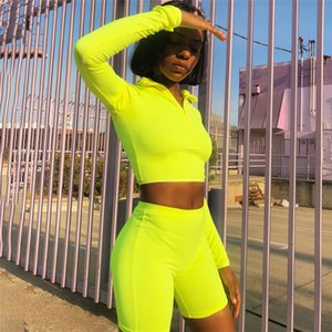 2020 Fluorescence Fitness Two Pieces Set Women S-L Long Sleeve Top Tracksuit Shorts Sets Casual 2 Pieces Set Sportswear