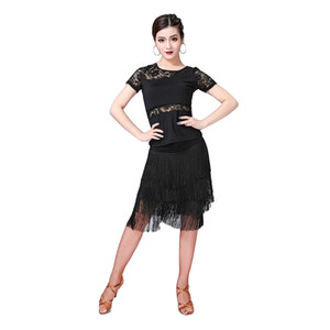 New Fashion Donna Abiti da ballo Salsa Samba Wear Class Dress Short Sleeves Spandex Top pizzo gonna costume frangia