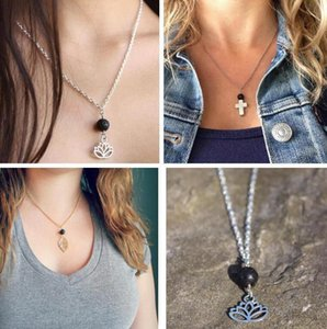 Aromatherapy Essential Oil Diffuser Necklaces Natural Black Lava Bead Lava-rock Lotus Leaf Cross Necklace Pendant Luxury Designer Jewelry