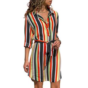 Sonbahar Yaz Elbise 2018 Kadın Çizgili Baskı Dantel Up Plaj Elbise Düğme Ile Zarif Parti Elbiseler Vestido De Fiesta Artı Boyutu