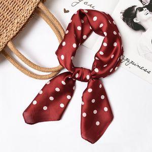 70x70cm Square Silk Feel Satin Scarf Elegant Women Head Skinny Retro Hair Tie Band Small Fashion Square Kerchief Neck Scarf