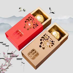 Caja de chocolate de papel de felicidad doble chino Caja de embalaje de regalo de fiesta de boda DIY