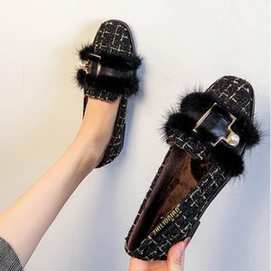 mules shoes black white mixed color fur flats women pearl buckle plush winter shoes comfy moccasins furry loafers women NS119