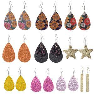 Colorful Sequin PU leather Drop Earrings Bling Teardrop Star shape Dangle & Chandelier Ear Rings For Ladies Women Designer Jewelry