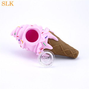 wholesale price ice cream smoking pipe smoking accessories silicone bong water pipe tobacco hand pipes with glass bowl 420