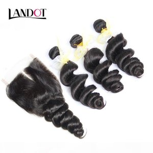 3 Bundles Filipino Loose Wave Virgin Hair Weaves With Closure Unprocessed Loose Deep Curly Human Hair And Top Lace Closures Free Middle Part