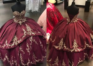 Sexy Gold Embroideried Burgundy Cheap Ball Gown Quinceanera Dresses Sweetheart Satin Tulle Corset Back Long Beaded Prom Evening Dress