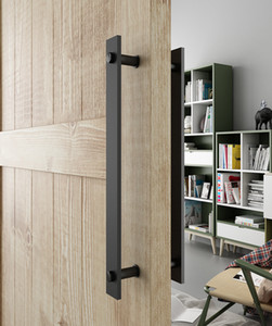 """DIYHD 14"""" in acciaio nero Rustic Barn Door maniglia ed estrarre portello di legno a due-Side Flat Bar-a-Bar gestisce T200605"""