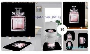 Retro Letter Fashion Shower Room Ground Mat Soft Non-slip Carpet Women Perfume Bottle Print Curtain Vintage Print Bath Curtain