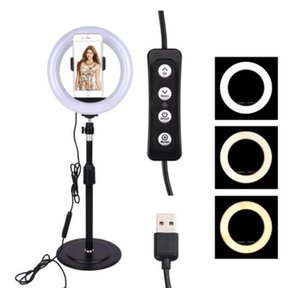 20cm Dimmable LED Studio Camera Ring Light Photobox Phone Video Light Lamp for Photography Makeup Fill Lights fotografia Backdrop Stand