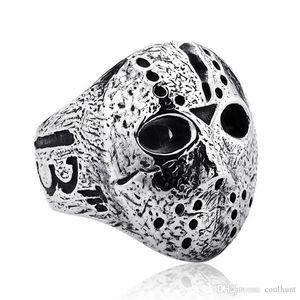 Punk Rock Männer Black Friday Jason Hockey Maske Horror Schädel Fingerring Schmuck Männer Silber Halloween Jason Maske Ring Drop Shipping