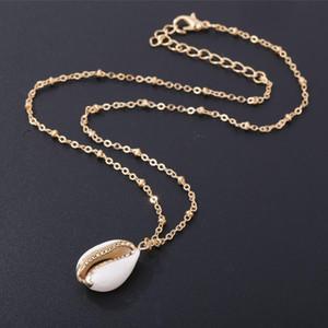 Moda Natural Embrulhado Em Ouro Colar de Ouro para As Mulheres Natural Cowrie Shell Pingente Com Fivelas Duplas Guarnição de Ouro Colar de Corrente