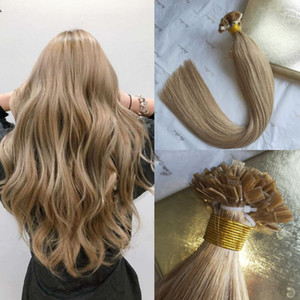 100% Virgin Russian Human Hair Pre Bonded Extensions Double Drawn Flat Tip hair #27 Honey Blonde Keratin tip hair 100g