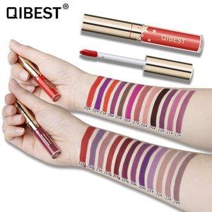 QIBEST Lady Maquiagem À Prova D 'Água Líquido Lip Gloss Pop Matte Batom Duradoura Lip Tint Batons Pop Vermelho