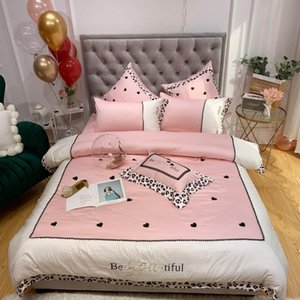 Princess Style Pink Lady Lace Embroidery Egyptian Cotton Bedding Set King Queen 4pcs Duvet Cover Bed Sheet parure de lit