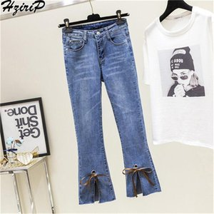 HziriP 2018 Autumn New High Waist Jeans Ankle-Length Flare Elasticity Pants Female Fashion Trousers Casual Loose Zipper Pants