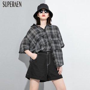 SuperAen Europe 2020 Summer New Chemises à carreaux Wild Women Casual Mode Coton Lin Ladeis Blouses et Hauts Pluz Taille Chemises