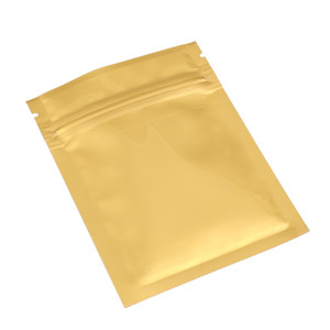 Pequeño paquete 100PCS termosellable bolsa brillante de lados planos de oro metálico Mylar Zip Lock Bolsas 7.5x10cm (3x4in)