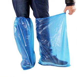 2 pairs of disposable plastic thickened extended shoe covers outdoor rainy clean blue waterproof elastic protective shoe covers