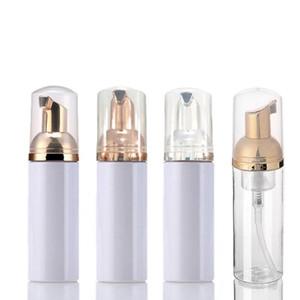 60ML الأبيض من البلاستيك الشفاف رغوي زجاجة مع الذهب / الفضة / وردة الذهب مضخة إفراغ إعادة الملء السفر صابون الرغوة موزع