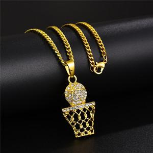 Спорт Баскетбол Мужчины ожерелье Мода хип-хоп ювелирных изделий личности Дизайн Полный Rhinestone 60см Длинные цепочки Панк Ожерелье для мужчин