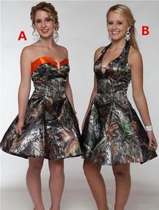 Современные Camo Короткие платья невесты Милая атласная линии длиной до колен платье платье партии Vestidos De Festa Младший Homecoming платье