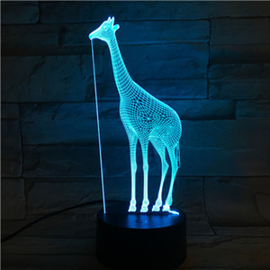 Creative Christmas Gift night light Giraffe 3D Stereo Vision led lights Acrylic Colorful Remote Control Color-changing touch lamps