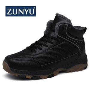Zunyu Hombres nieve del invierno los cargadores calientes Super Man alta calidad de cuero impermeable al aire libre zapatillas de deporte masculinas botas de caminata de trabajo 39-48