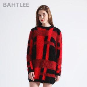 lungo lana d'angora delle donne maglione BAHTLEE autunno inverno pullover a maglia maglione lungo del o-collo tenere in caldo