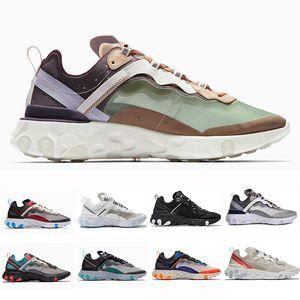 Luz Volt total Laranja Real Tint Reagir Elemento 87 Running Shoes Mulheres Blue Chill Sail Verde névoa de areia do deserto Homens instrutor Sports Sneakers