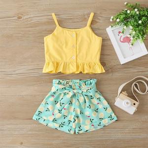 Filles Accolades Tops + Bow Pantalons Tenues d'été 2020 Enfants Boutique Vêtements 1-4 Filles manches Ruffle Top 2 PC Set Fashion