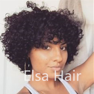 흑인 여성을위한 변태 곱슬 짧은 인간의 머리 가발 브라질 레미 아프리카 미국 가발 짧은 아프리카 기계 만든 머리 가발