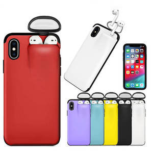 2 en 1 cubierta para airpods y funda de silicona para Iphone 11 pro x xr xs max caja del teléfono celular 8 7 6 plus diseñador