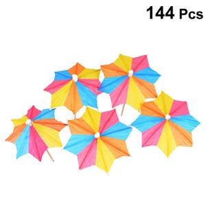 144pcs Prop divertido decoración creativa desechable Selecciones de cóctel de frutas Selecciones Selecciones de paraguas para Bar Hotel