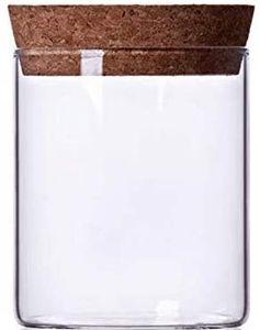 Air Tight Storage Jar, Glass Storage Tank with a Natural Bamboo Lid, 450 ML, 650 ML, 950 ML (Cork, 450ML)