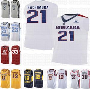 NCAA Gonzaga Bulldogs 21 Rui Hachimura 33 Bryant jersey LeBron 23 james High school 23 Michael James 13 Harden Suture size S-XXL