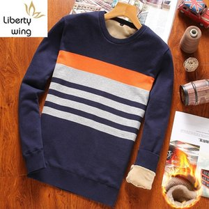 Casual Long Sleeve O-Neck Stripe Mens Winter Thick Pullovers Korean Slim Fit Plus Size Fleece Lining Warm Male Knitting Sweaters