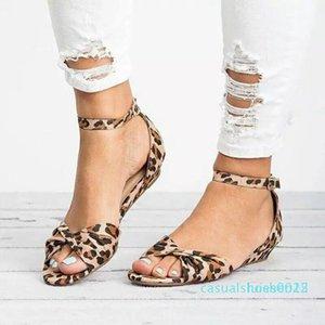 donne tacco Leopard piatto RTS 3style nuova estate disegno Buckle stampa animale Fiore sexy zeppa bocca dei pesci i sandali romani per le donne L25
