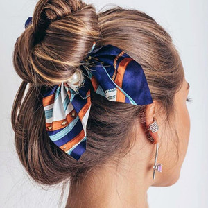 2020 New Chiffon Bow knot Elastic Hair Bands For Women Girls Pearl Scrunchies Headband Hair Ties Ponytail Holder Hair Accessories