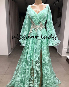 Mint Green Lace Embroidery Evening Formal Dresses 2020 Long Sleeve Crystal Slit Kaftan Caftan Aso Ebi Arabic Prom Reception Gown