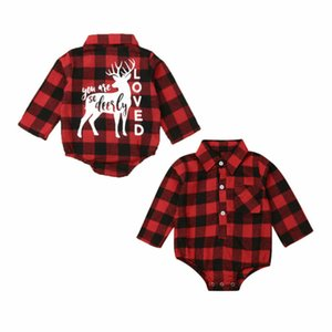 Christmas Baby Girl Boy Elk Romper Plaid Long Sleeve Jumpsuit Clothes Newborn Kids Reindeer Red Shirt Xmas Clothes