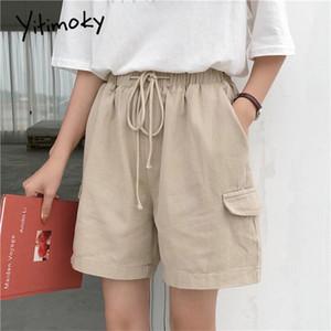 cáqui shorts de algodão mulheres Pockets Sólidos Casual com cordão estilo alta bermuda cintura verão preto curto rua plus size 5XL