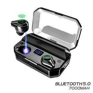 Беспроводные сенсорные наушники шумоподавления T9 TWS True Binaural 5.0 Bluetooth наушники 7000mAh IPX7 водонепроницаемый стерео спортивная гарнитура