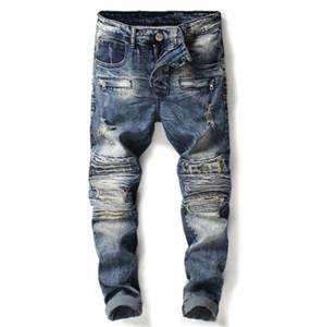 trou pas cher Fold jean hommes motard hommes jeans pantalon élastique couture moto mode CONCEPTEUR bleu punk hommes de pantalons en denim