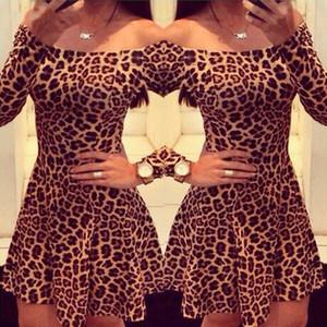 Beauty Stay Mulheres Sexy Vestido Leopard Impressão Alças de Slash Long Neck Sleeve Zippers Evening Club Party Mulheres Mini Vestido